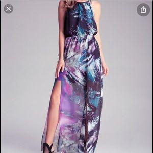 Bebe Halter Double Slit Print Maxi Dress